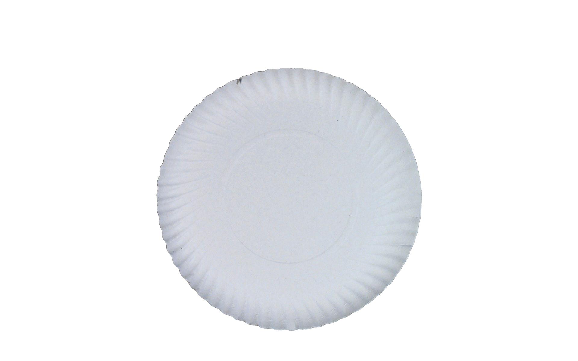 Plato  blanco estriado 25