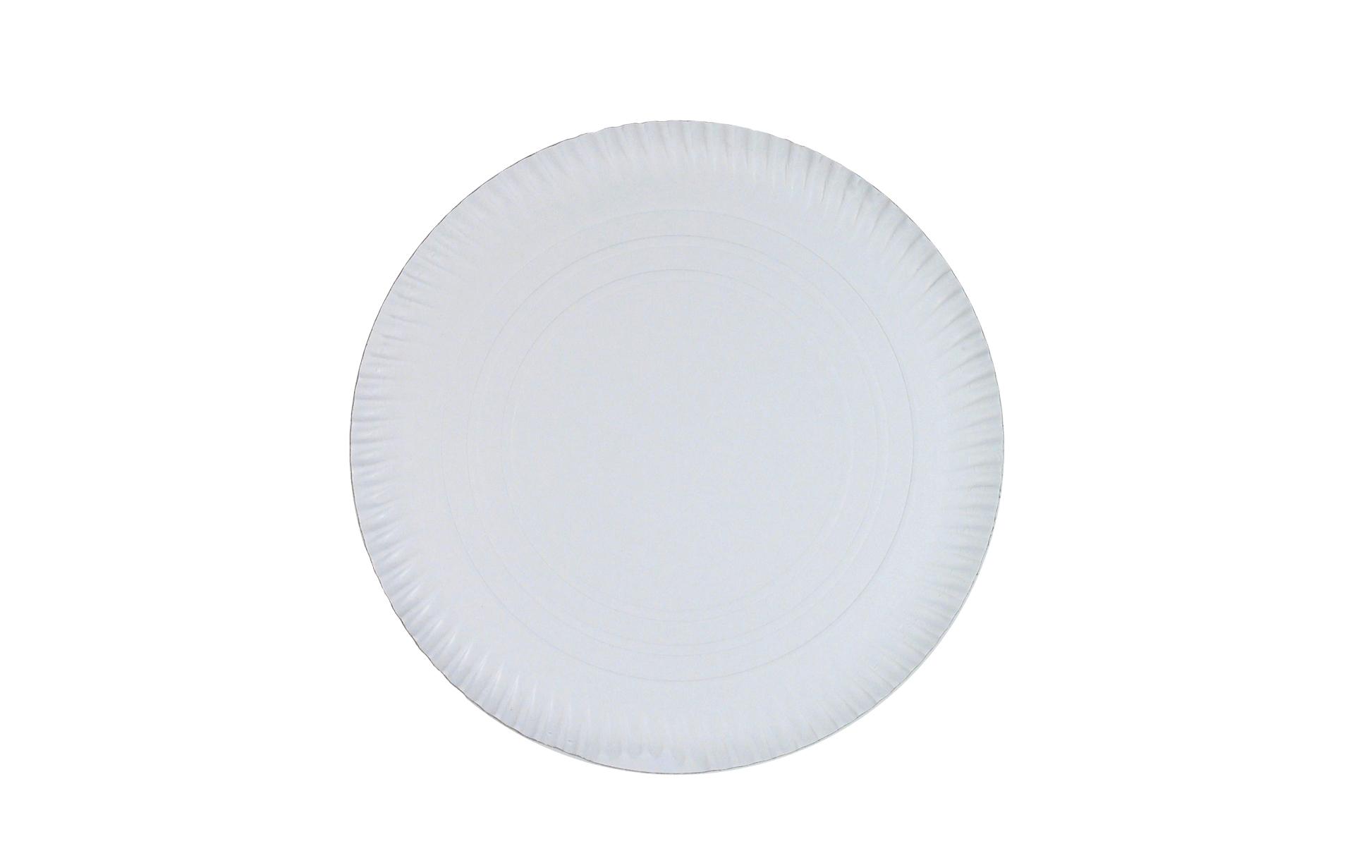 Plato  blanco estriado 35