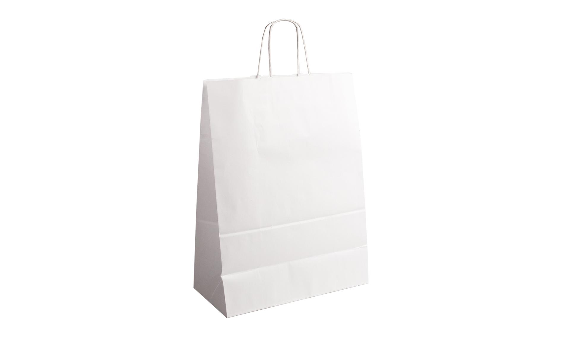 Bolsa blanca papel asa rizada 23x31