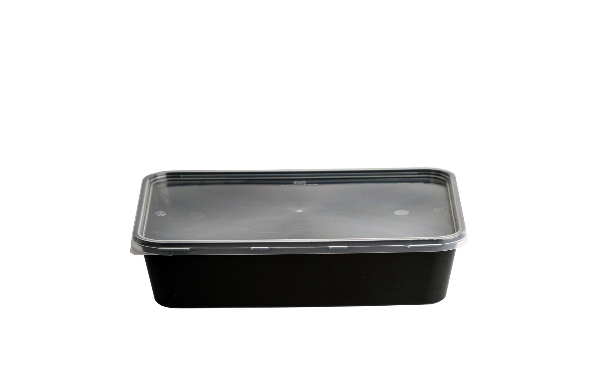 Envase rectangular negro 500 + tapa