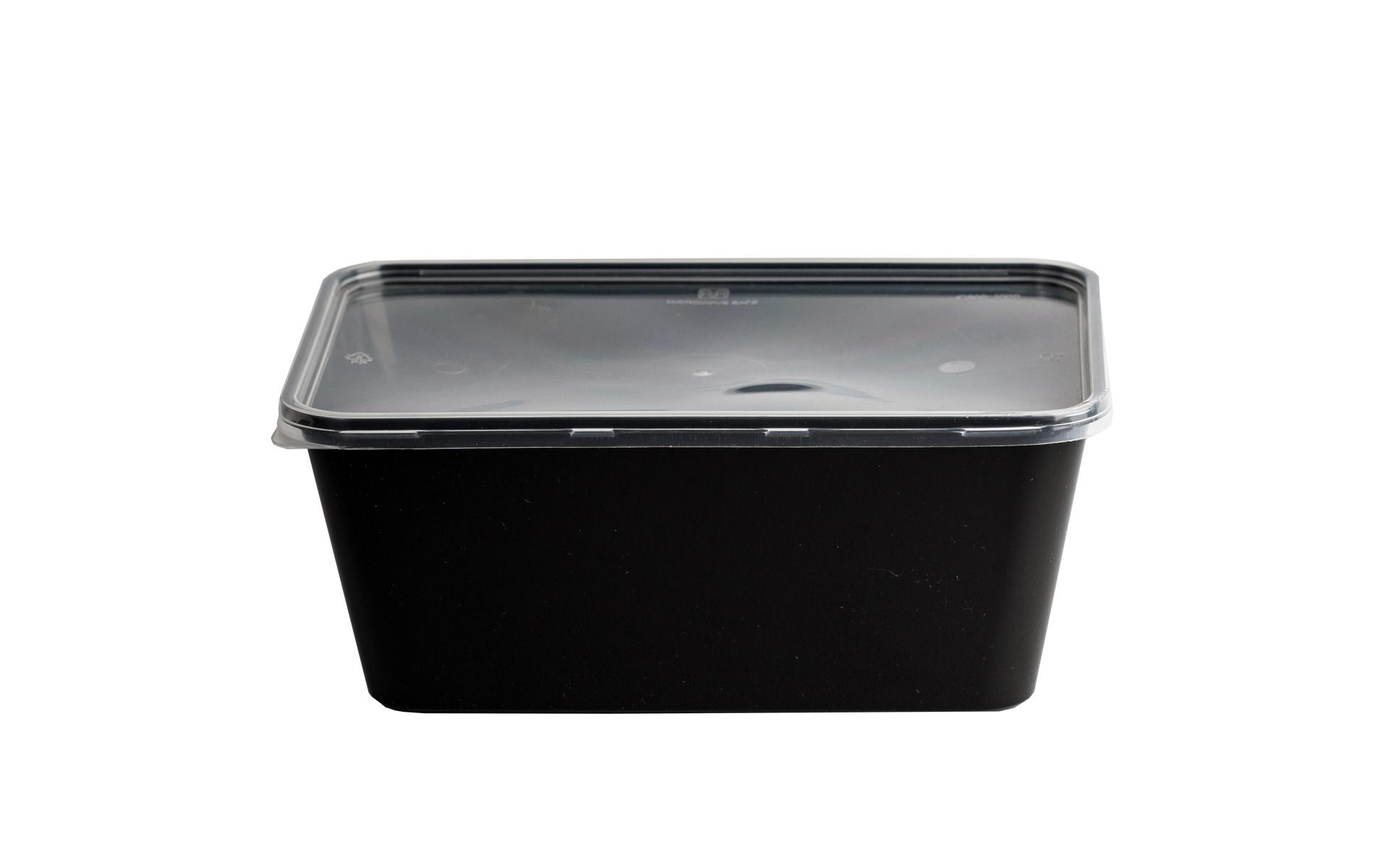 Envase rectangular negro 1000 + tapa