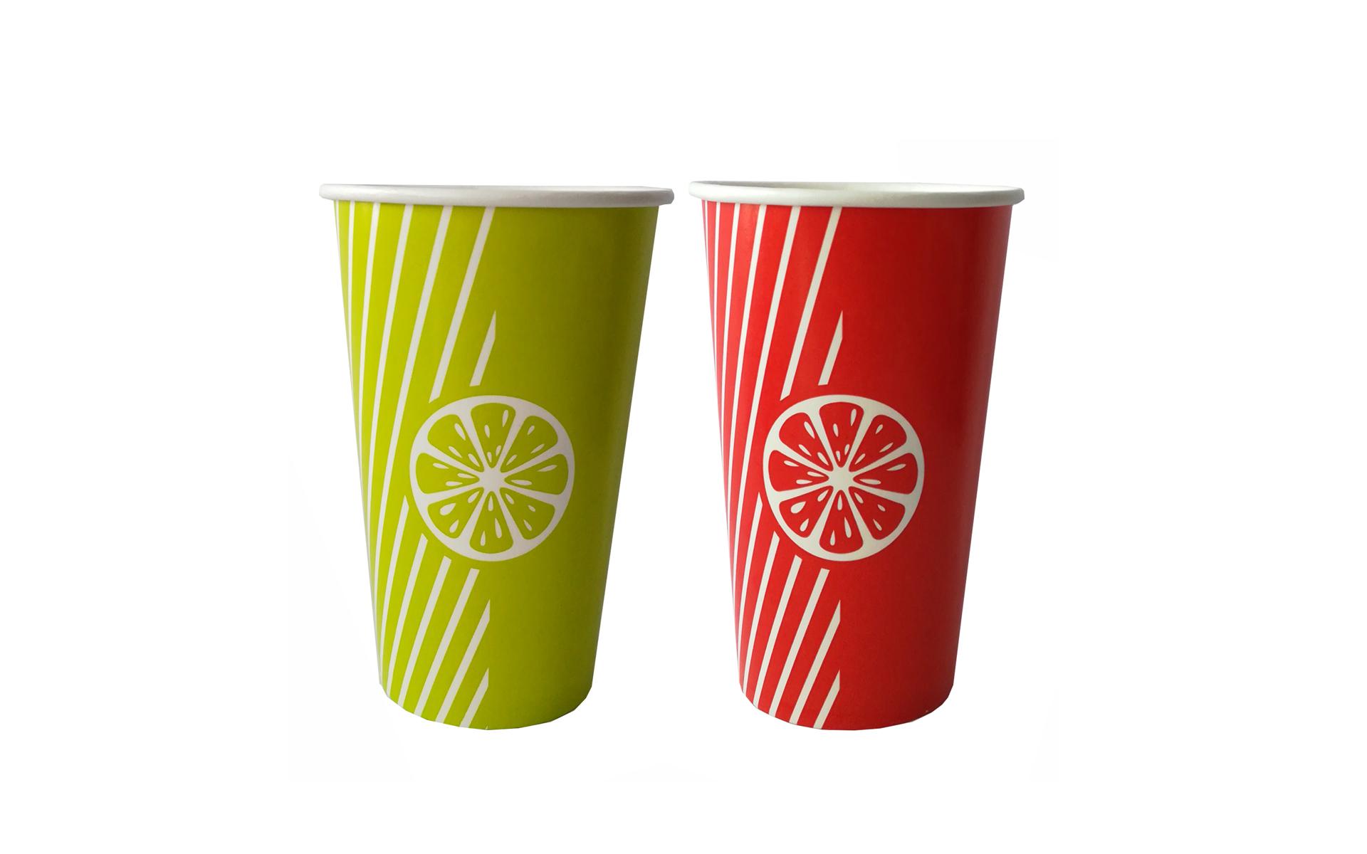 Vaso  papel Fruit  naranja/verde 16