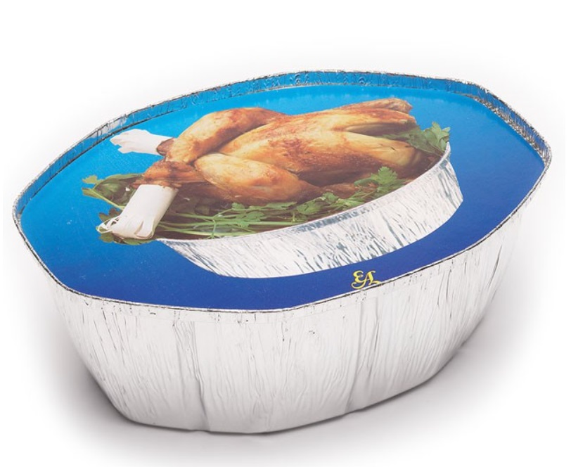 Envase aluminio pollo  + tapa