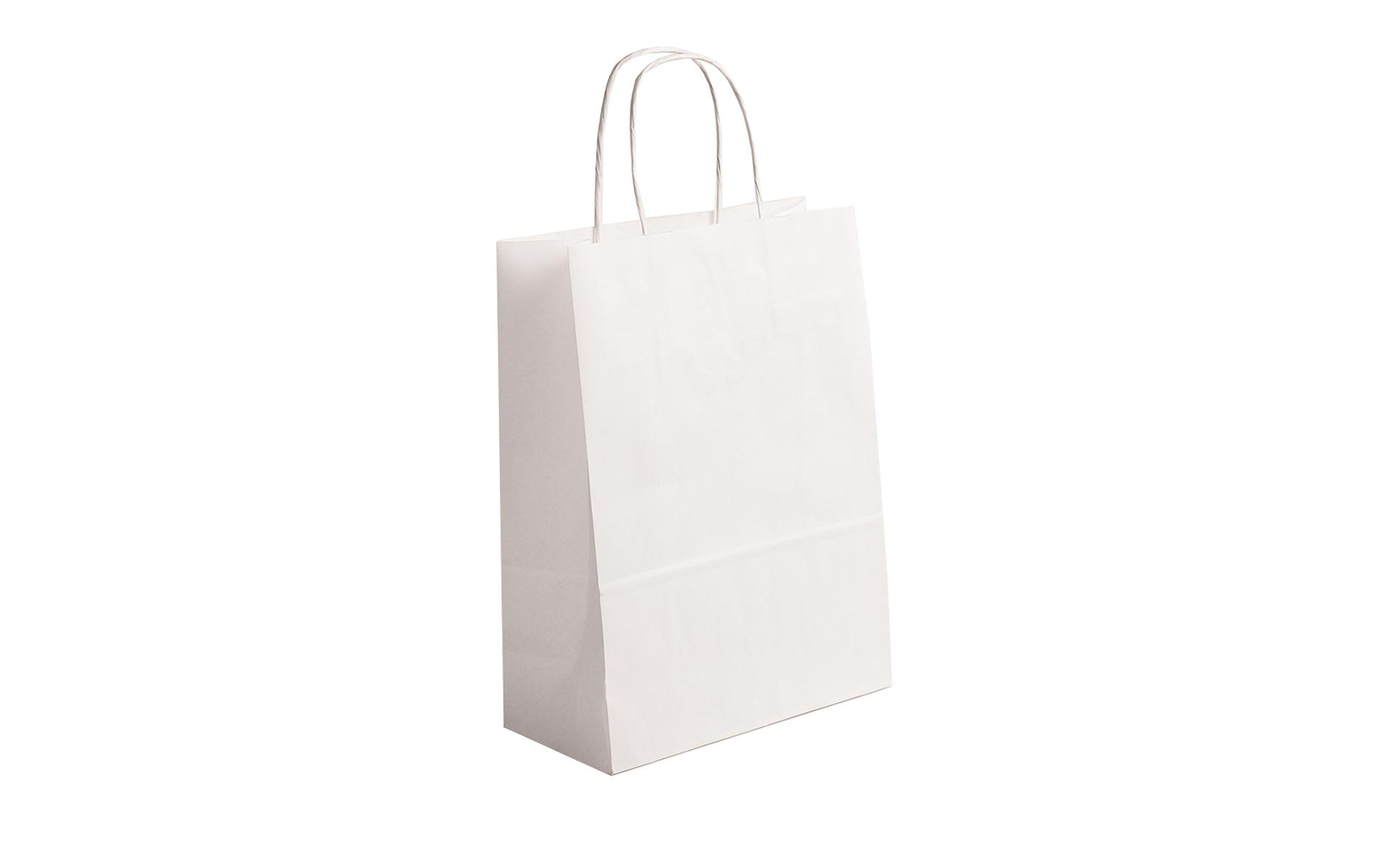 Bolsa blanca papel asa rizada 32x43